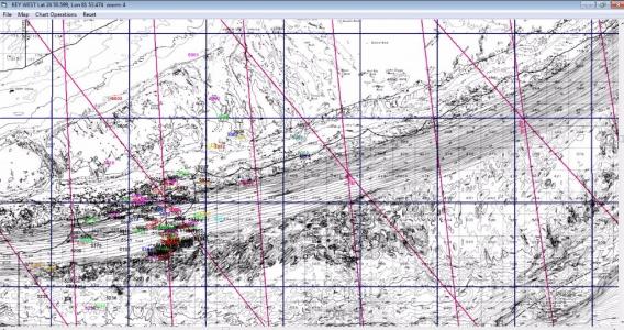 2D bathymetric display W loran TD lines