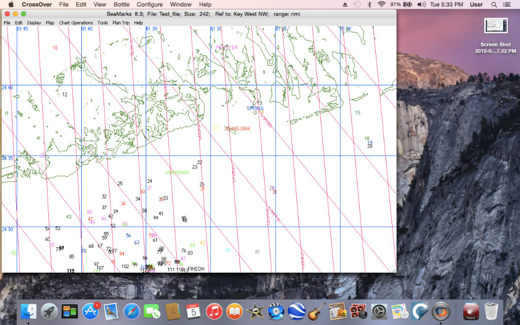 SeaMarks on Crossover running on Yosemite 1