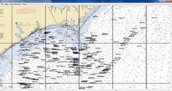 Maps Unique Morehead data on a NOAA chart