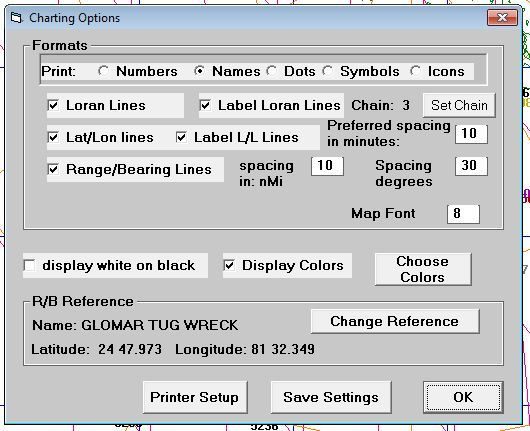 Charting Options menu item