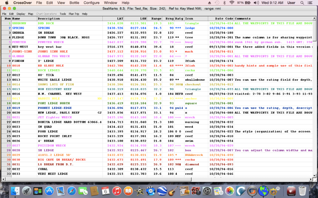 Display of Test file listing on MAC running Yosemite